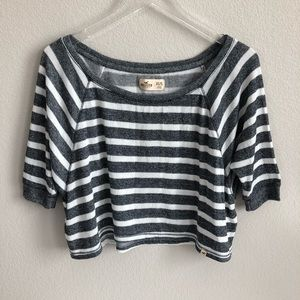 Hollister Knit Blouse Top Striped Cropped Loose
